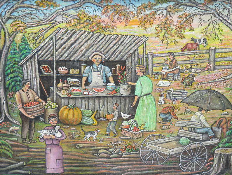 Folk Art Painting - Roadside Market